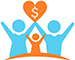 Two adults and one child holding up a heart that has a dollar symbol that directs to Become a Member page.