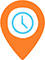Location pinpoint with a clock in the pin that directs to locations and hours page.